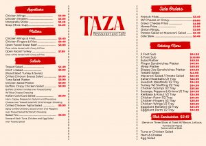 TAZA Restaurant Menu